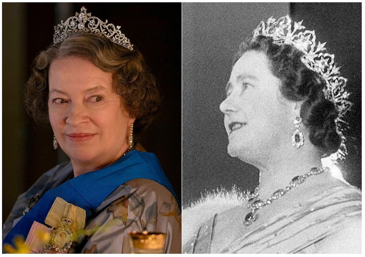 This combination of photos shows actress Marion Bailey portraying Queen Elizabeth the Queen Mother in a scene from the third season of