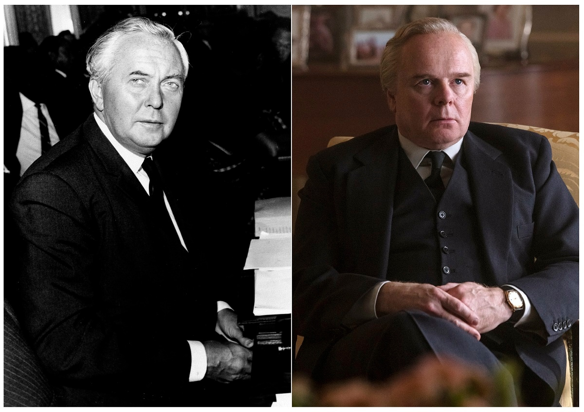 This combination of photos shows British Prime Minister Harold Wilson during opening session of the Commonwealth Prime Ministers Conference at Marlborough House in London on September 6, 1966, left, and actor Jason Watkins portraying Wilson in a scene from