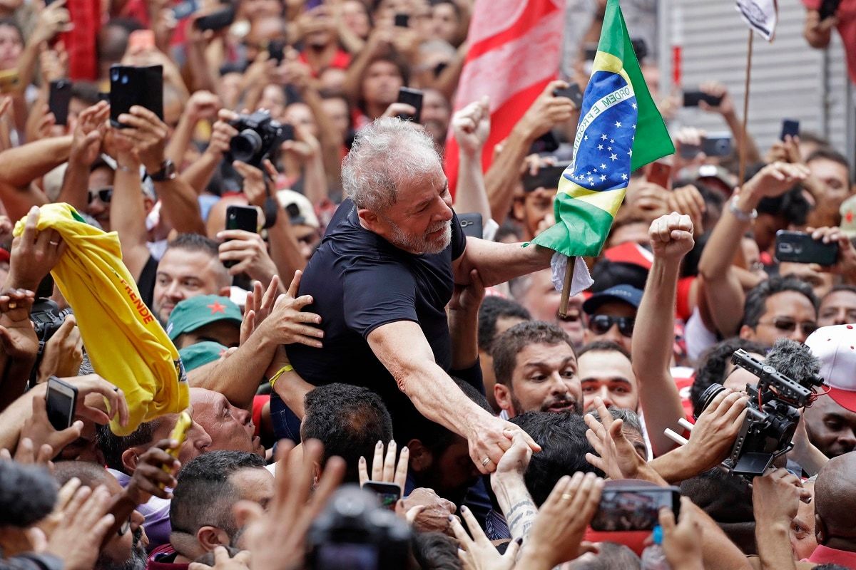 Former Brazilian President Luiz Inacio Lula da Silva is carried by supporters during a rally at the Metal Workers Union headquarters, in Sao Bernardo do Campo, Brazil. Da Silva addressed thousands of jubilant supporters a day after being released from prison.
