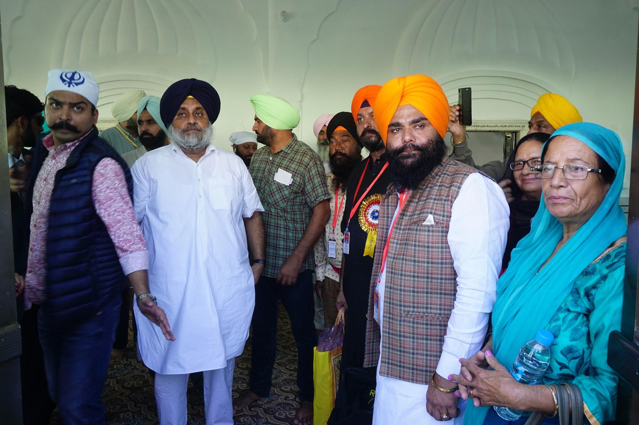 Shiromani Akali Dal president Sukhbir Singh Badal inside the gurudwara.