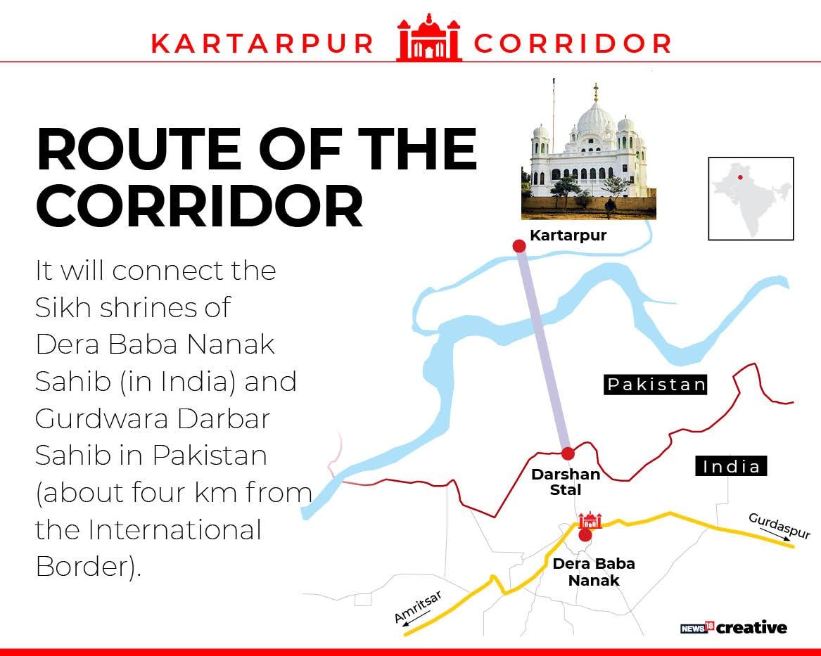 The corridor links Gurdwara Darbar Sahib in Pakistan, the final resting place of Sikhism founder Guru Nanak Dev, to Dera Baba Nanak shrine in this Punjab district.