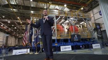 NASA chief gets latest look at new moon rocket