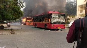 In pictures: Anti-CAB violence erupts in Delhi, 4 buses burnt, 2 injured