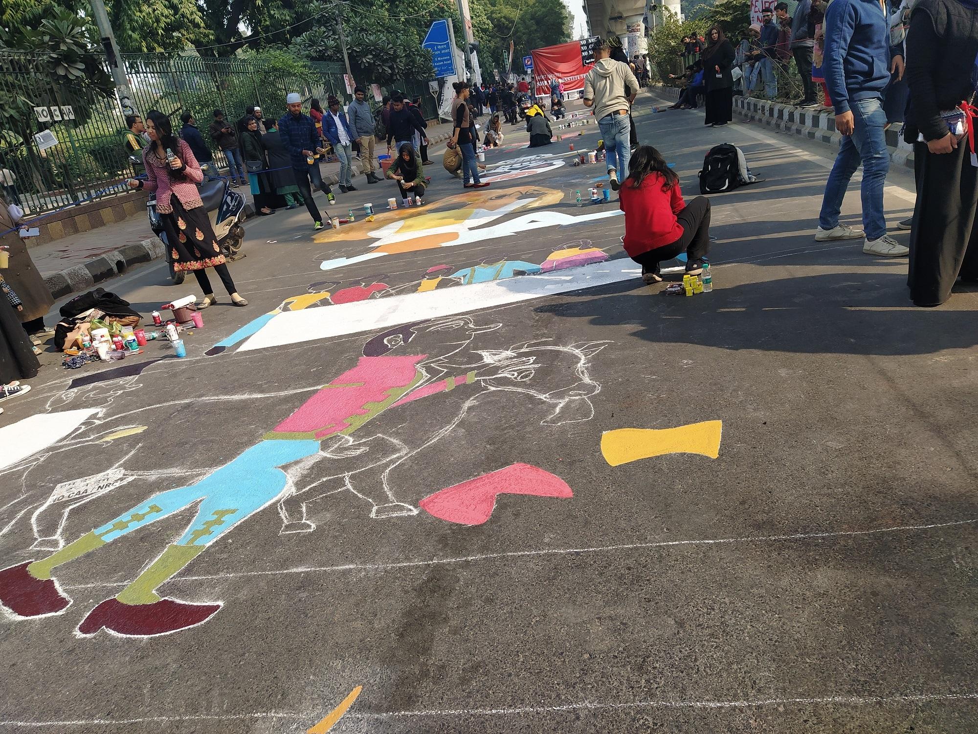 Jamia anti-CAA protests street art graffiti