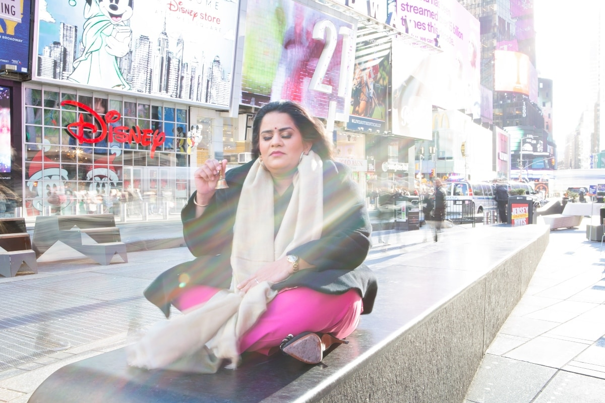 Zarna Garg in Times Square.
