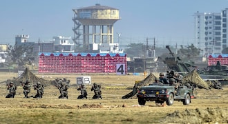 Lucknow: Army personnel rehearse for the Defence Expo 2020, in Lucknow, Sunday, Feb. 2, 2020. Prime Minister (PM) Narendra Modi is expected to inaugurate the mega event, to be held from Feb. 5 to Feb. 9.(PTI Photo/Nand Kumar) (PTI2_2_2020_000090B)