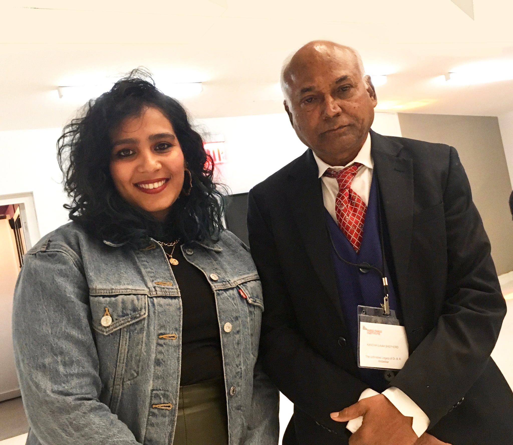 Yashica Dutt with academician and social scientist Kancha Ilaiah.