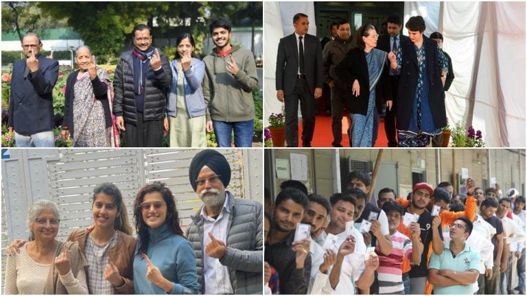 In pictures: Political leaders, actors, residents cast vote in Delhi Assembly polls