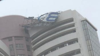 Signage on top of BSE building topples due to heavy wind and incessant rainfall