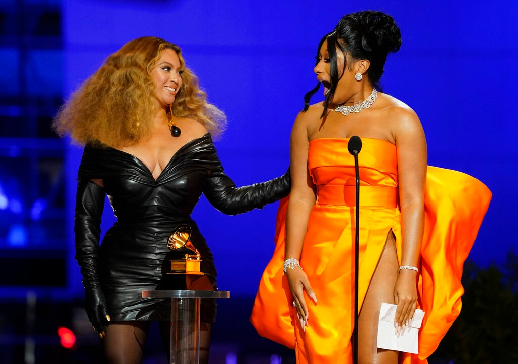 Beyonce and Megan Thee Stallion accept the award for best rap song for