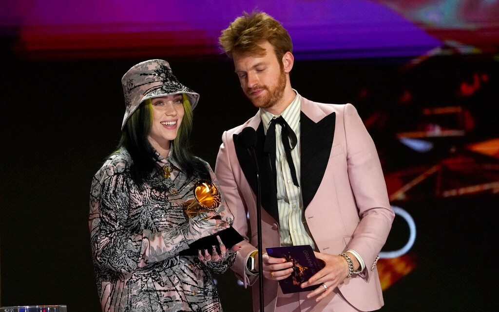 Billie Eilish and Finneas accept the award for record of the year for