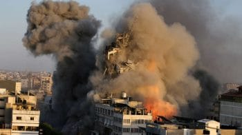 Israel-Palestine conflict LIVE updates: Israeli strike brings down most of Gaza high-rise building