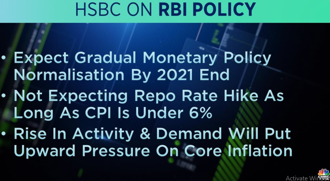 HSBC on RBI Policy:  HSBC sees gradual monetary policy normalisation by 2021 end. It does not see a repo rate hike by RBI as long as CPI is under 6 percent in foreseeable future.